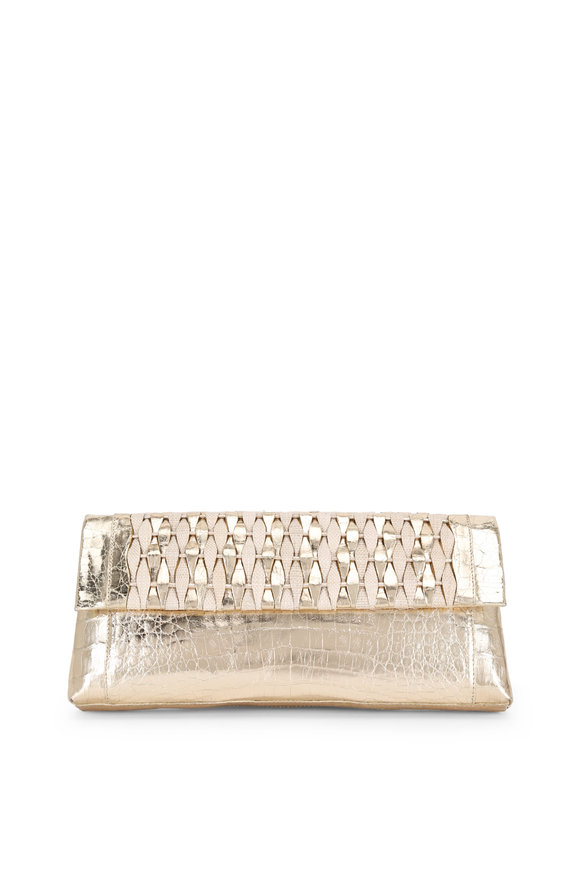 Nancy Gonzalez Champagne Crocodile & Natural Straw Woven Clutch