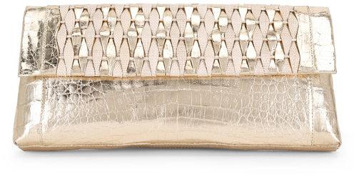 Nancy Gonzalez Champagne Crocodile & Natural Straw Woven Clutch