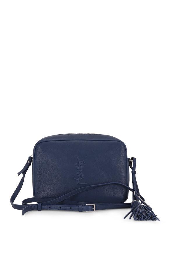 Saint Laurent Lou Monogram Denim Blue Leather Tassel Crossbody