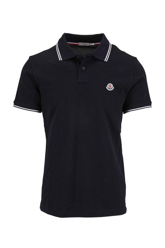 Moncler Navy Cotton Logo Polo
