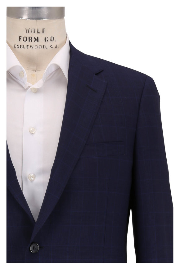 Samuelsohn Bennet Navy Blue Windowpane Wool Suit
