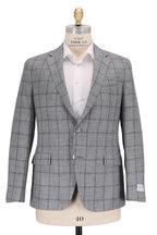 Samuelsohn - Baylor2 Light Gray Linen & Wool Plaid Sportcoat