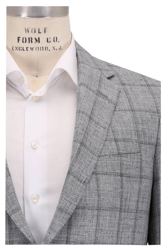 Samuelsohn Baylor2 Light Gray Linen & Wool Plaid Sportcoat