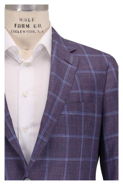 Samuelsohn - Baylor2 Purple Wool,Silk & Linen Plaid Sport Coat