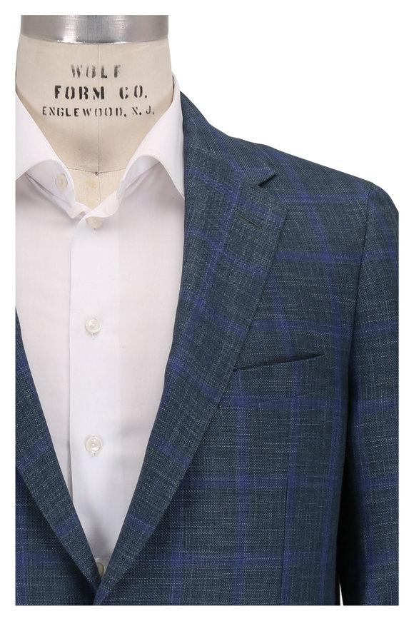 Samuelsohn Bristol2 Teal Wool, Linen & Silk Plaid Sportcoat