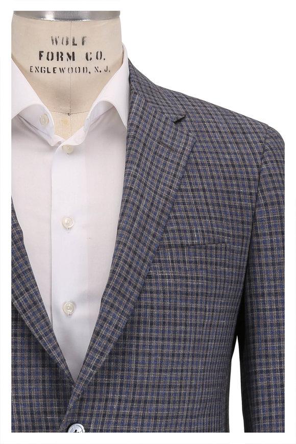 Samuelsohn Bristol2 Blue Wool, Silk & Linen Check Sportcoat
