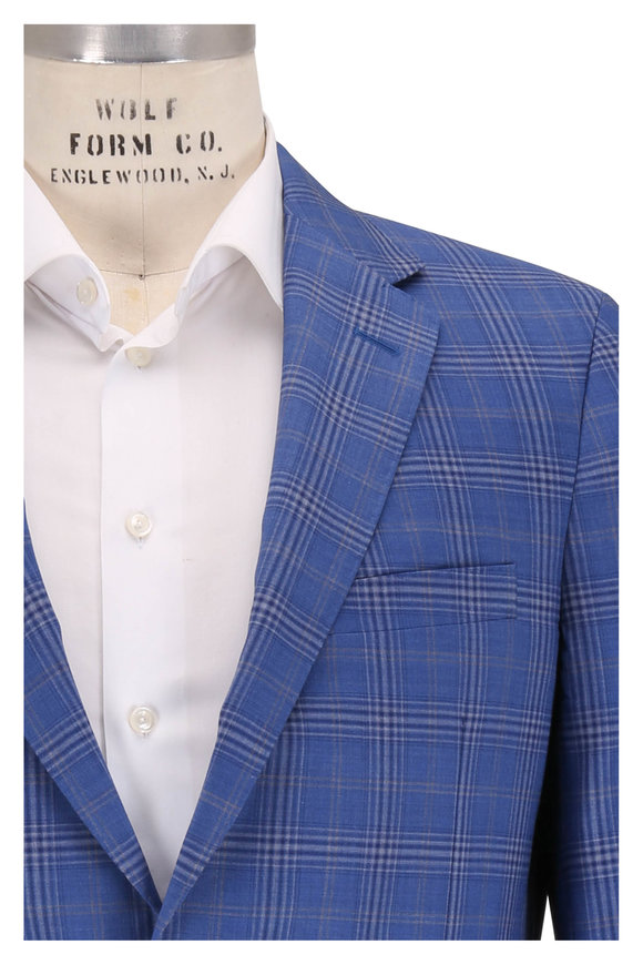 Samuelsohn Bristol2 Bright Blue Plaid Wool Sportcoat