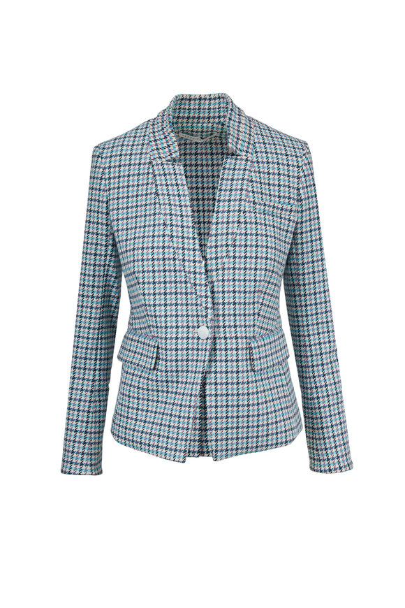 Veronica Beard Farley Turquoise-Multi Houndstooth Jacket