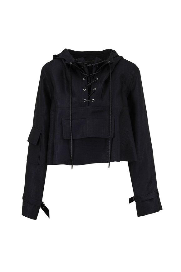 Partow Malin Black Stretch Silk Crop Hoodie