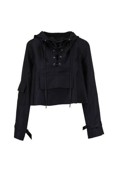 Partow - Malin Black Stretch Silk Crop Hoodie