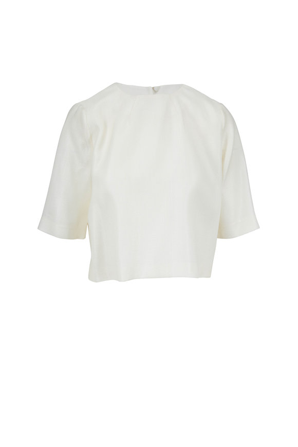 Partow Ivory Keyhole-Back Crop Top