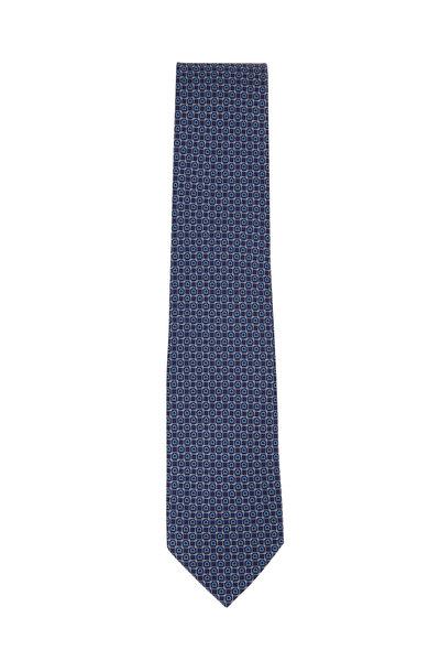 Salvatore Ferragamo - Navy Blue Gancini Silk Necktie