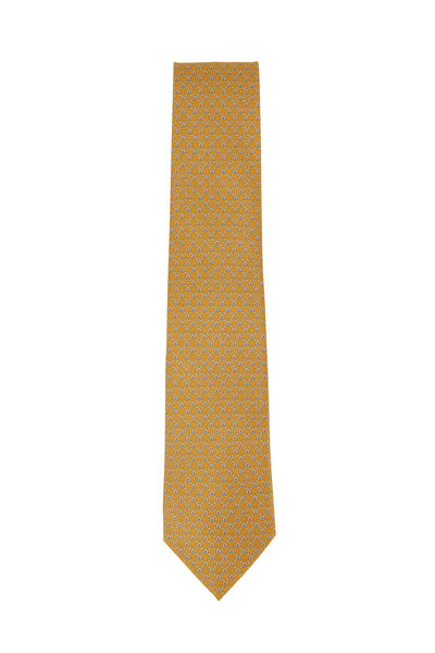 Salvatore Ferragamo - Gold Gancini Printed Silk Necktie