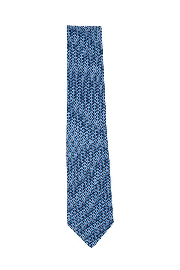 Salvatore Ferragamo Blue Fish Pattern Silk Necktie
