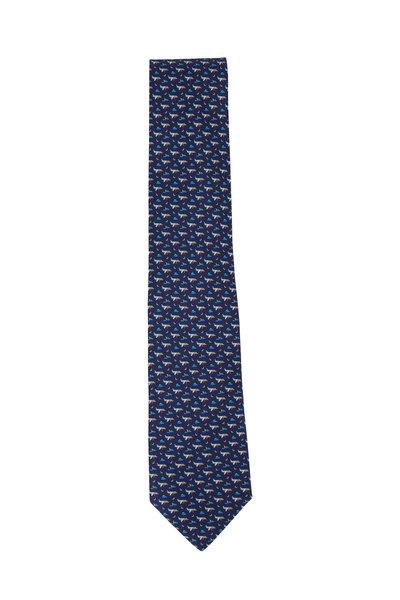 Salvatore Ferragamo - Navy Blue Plane Pattern Silk Necktie