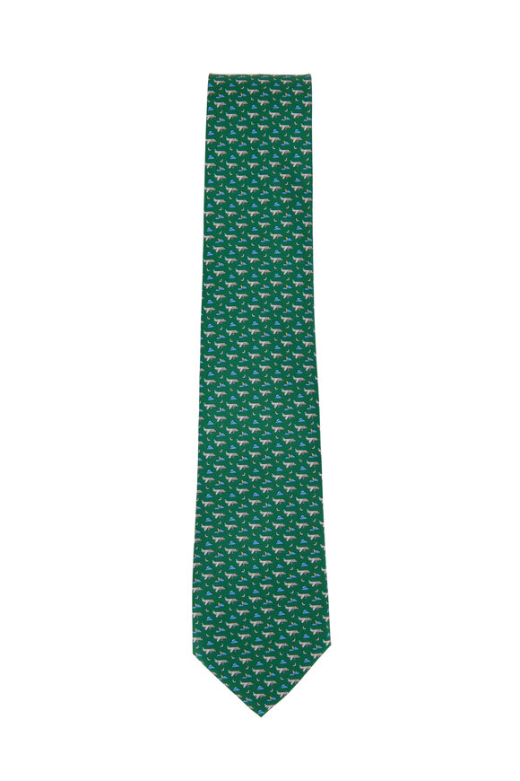 Salvatore Ferragamo Green Airplane Printed Silk Necktie