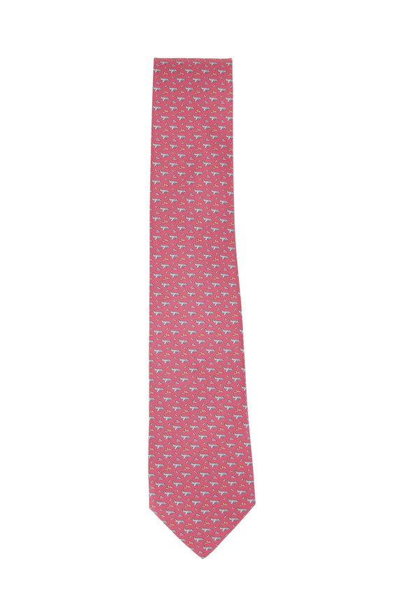 Salvatore Ferragamo Pink Airplane Printed Silk Necktie