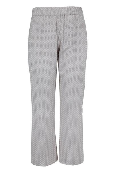 D.Exterior - Silver Geometric Jacquard Bootcut Pull-On Pant