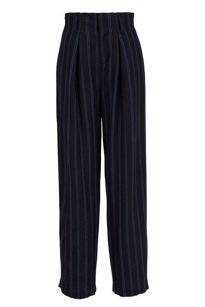 Vince - Indigo Striped Wide Leg Pant