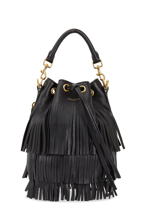 Saint Laurent Black Leather Fringed Small Bucket Bag