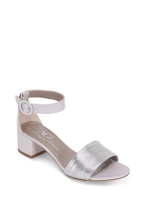 AGL Silver Multi-Band Block Heel Sandal, 50mm