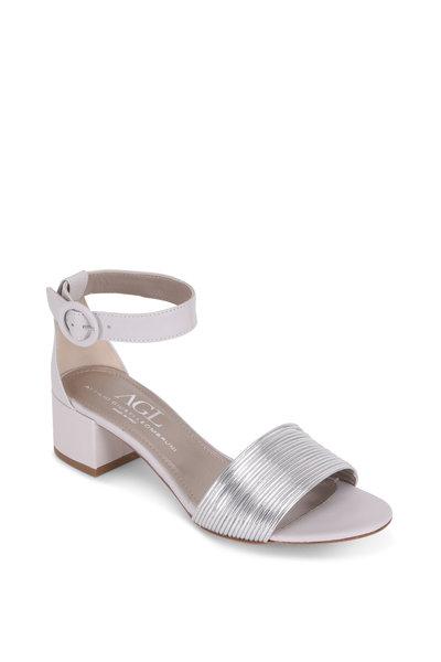 AGL - Silver Multi-Band Block Heel Sandal, 50mm
