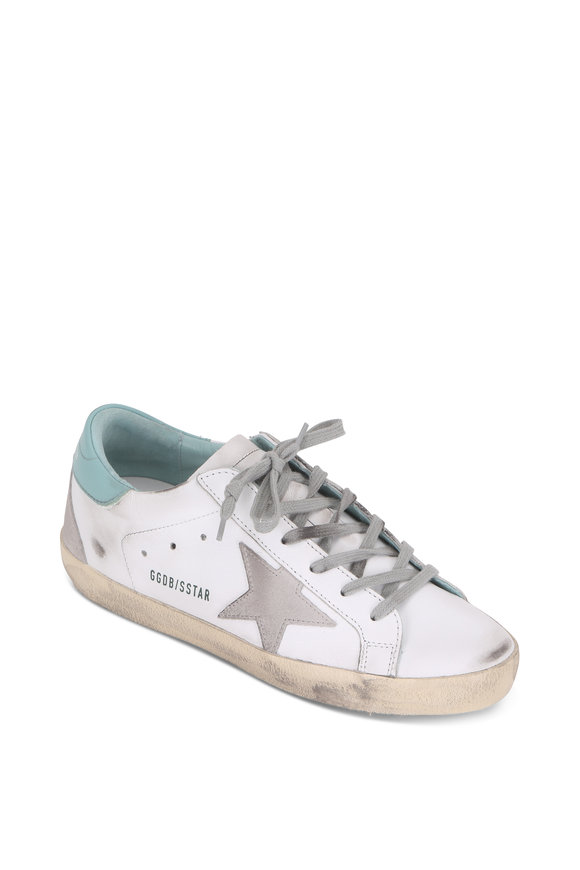 Golden Goose Superstar White & Mint With Gray Star Sneaker