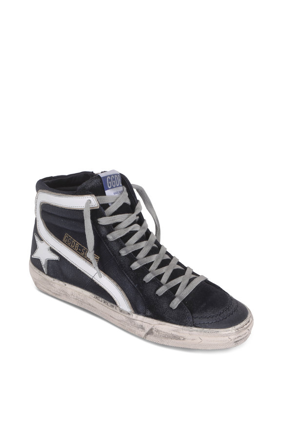Golden Goose Slide Navy Blue Denim High Top Sneaker