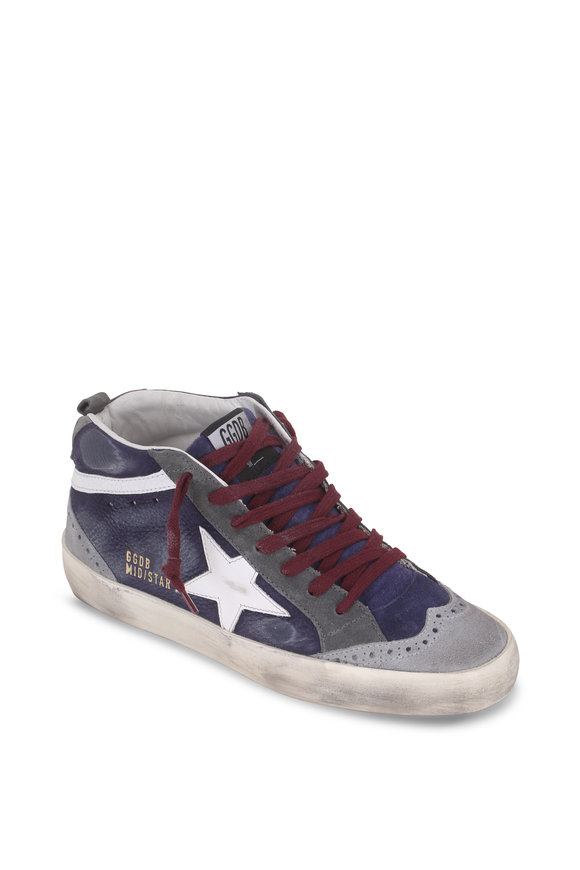 Golden Goose Mid Star Navy Blue Suede White Star Sneaker