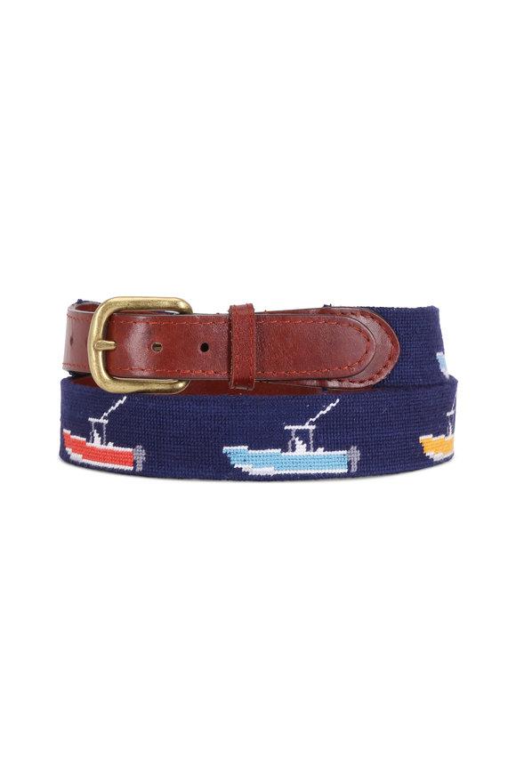 Smathers & Branson Navy Blue Power Boat Needlepoint Belt