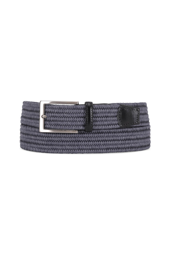 Torino Slate Blue Woven Stretch Braided Belt