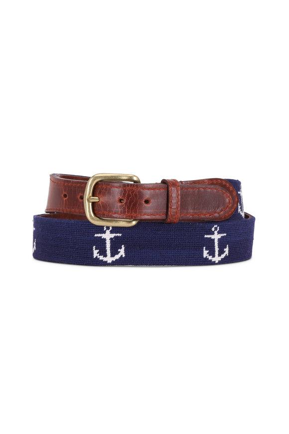 Smathers & Branson Navy Blue Anchor Needlepoint Belt