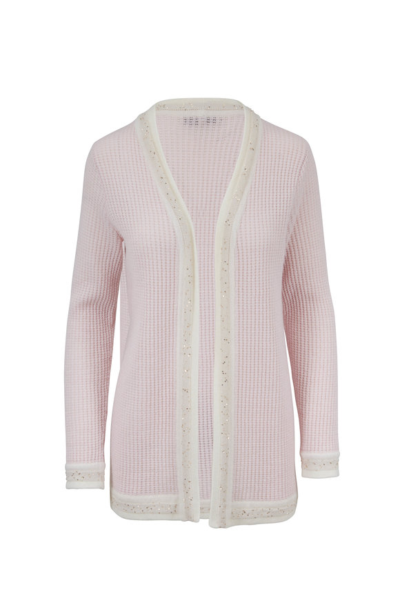 Rani Arabella Light Pink Cashmere Paillette Trim Cardigan