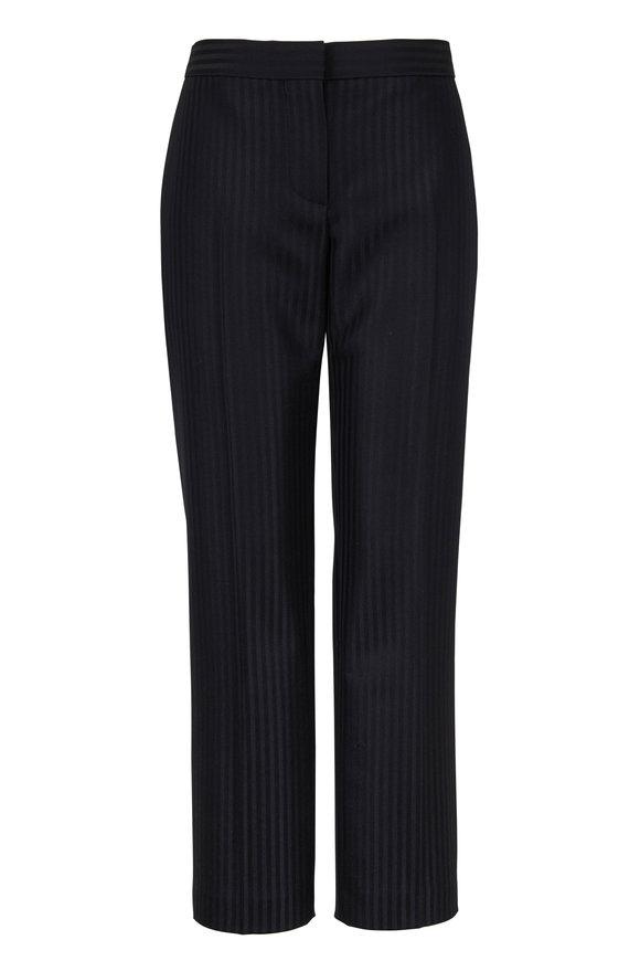 Alexander McQueen Black Tonal Stripe Cigarette Leg Tailored Pant