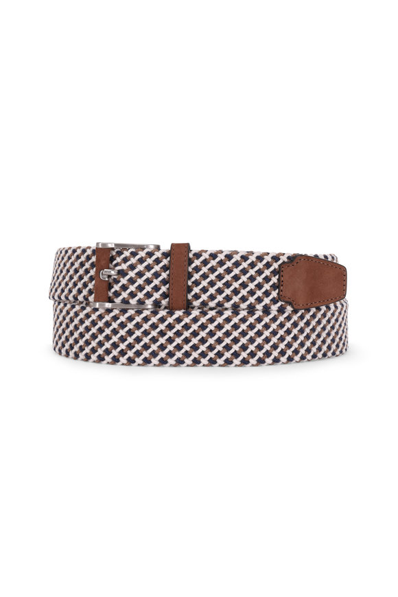 Peter Millar Navy Blue Multi Braided Stretch Belt