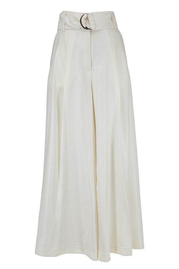 Partow Ivory Belted Pleated Pant