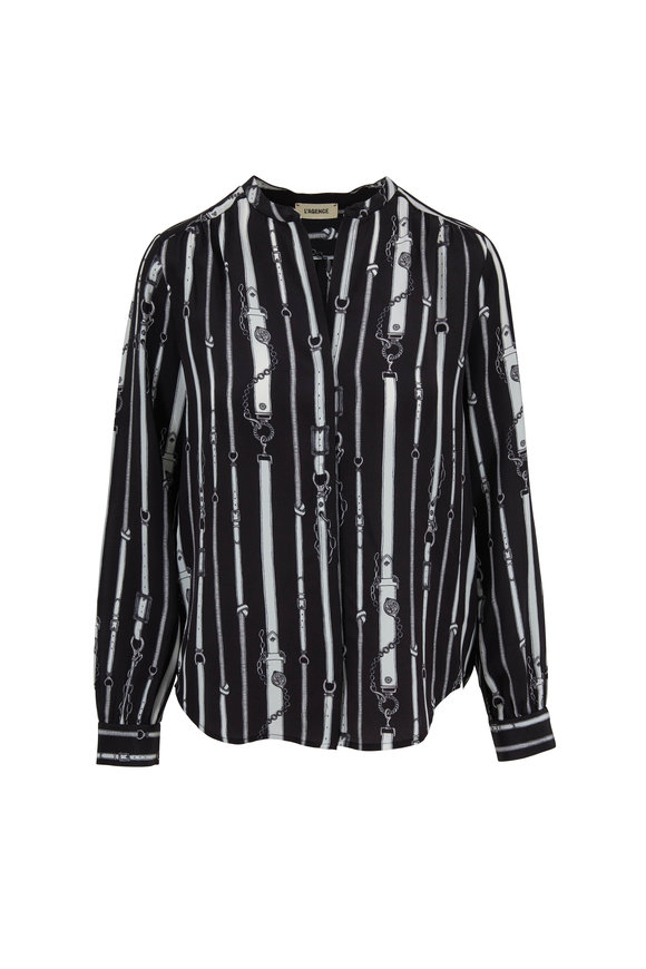 L'Agence Bardot Black Chain Printed Silk Blouse