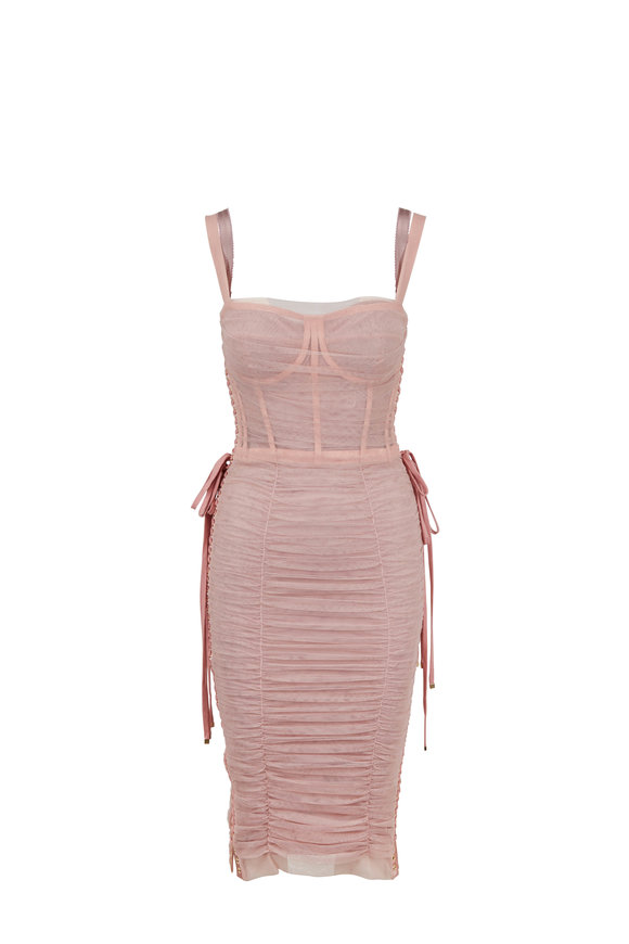Dolce & Gabbana Light Pink Tulle Lace-Up Corset Dress