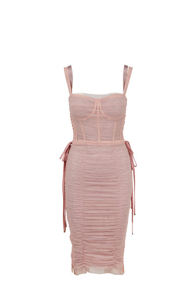 Dolce & Gabbana - Light Pink Tulle Lace-Up Corset Dress