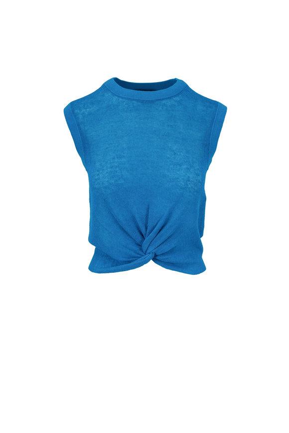 Veronica Beard Kellen Turquoise Front Knot Sleeveless Sweater