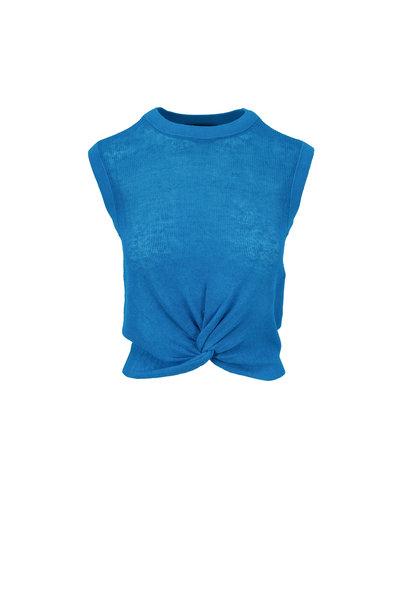 Veronica Beard - Kellen Turquoise Front Knot Sleeveless Sweater