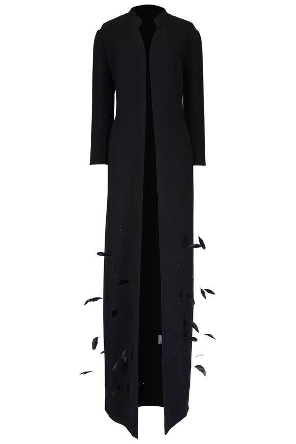 Olivine Gabbro Black Feather Detail Long Coat