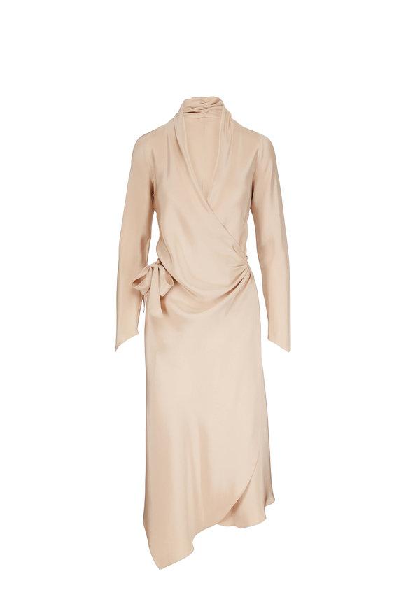 Peter Cohen Victor Beige Long Sleeve Wrap Dress