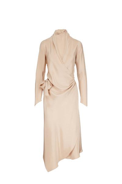 Peter Cohen - Victor Beige Long Sleeve Wrap Dress