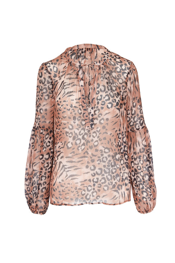 Paige Denim Beretta Faded Animal Print Silk Blouse