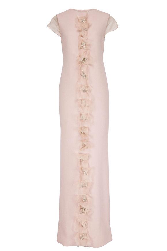 Olivine Gabbro Mauve Illusion Cube Cap-Sleeve Gown