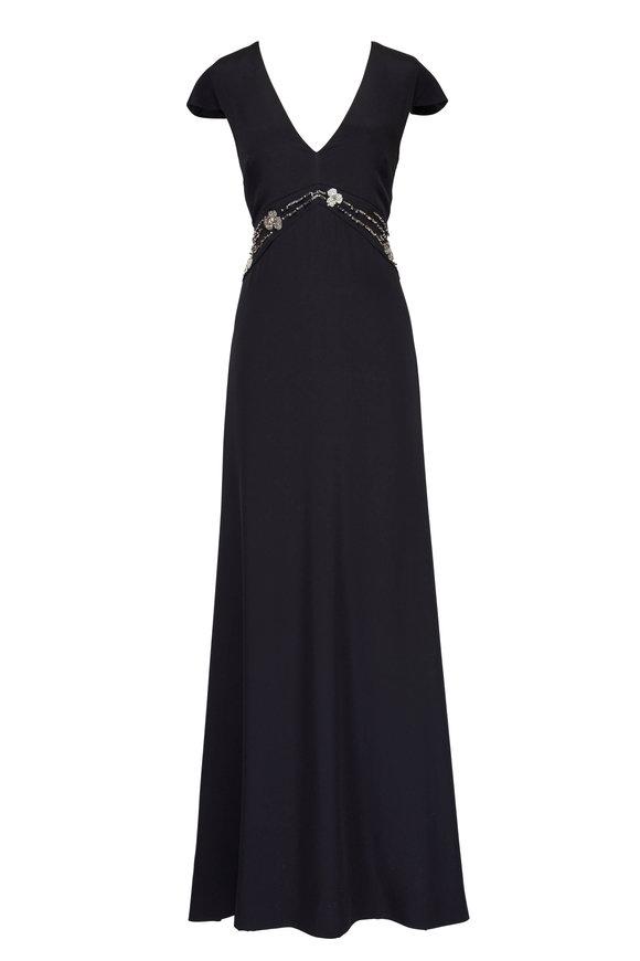 Olivine Gabbro Scinit Black Cap-Sleeve Beaded Gown