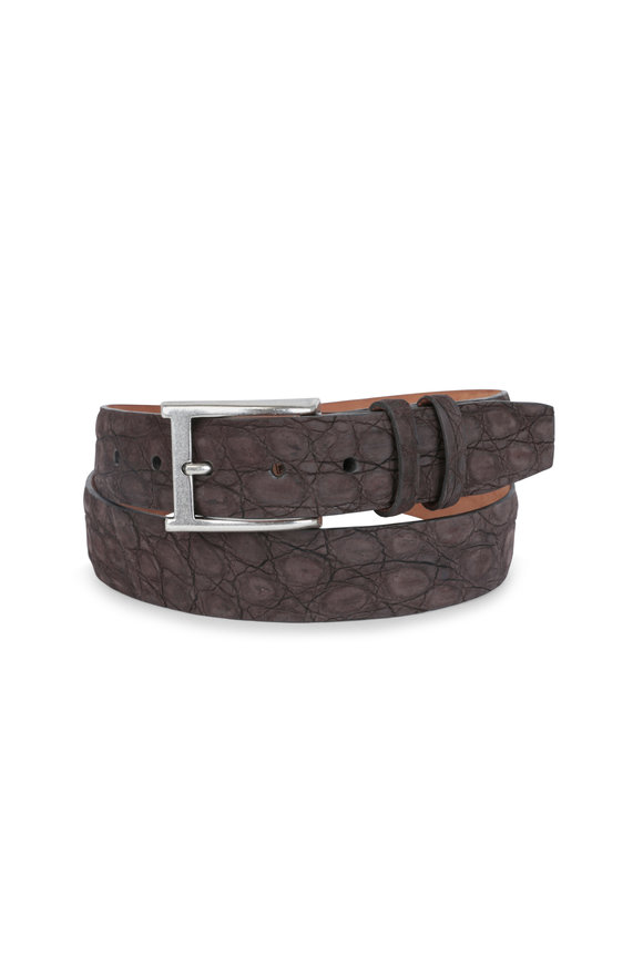 W Kleinberg Chocolate Suede Crocodile Belt