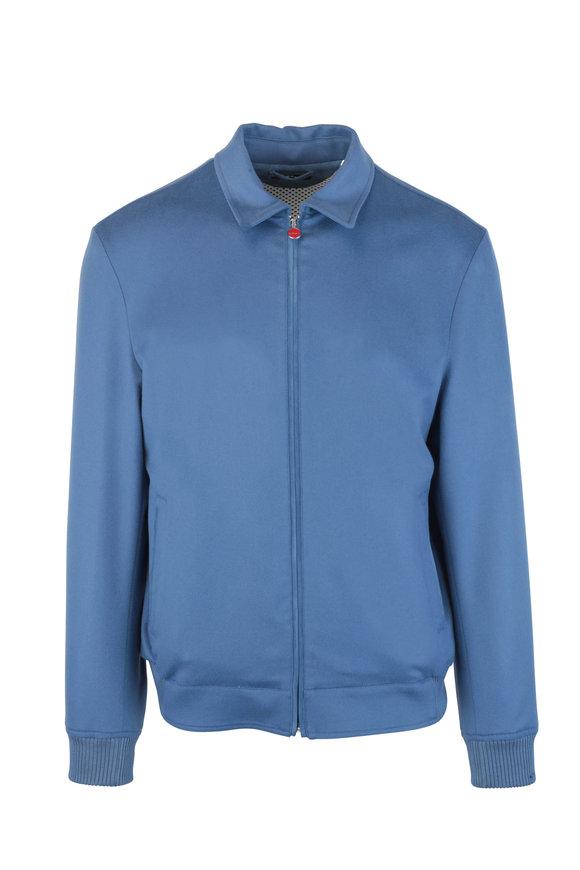 Kiton Blue Cashmere Bomber Jacket
