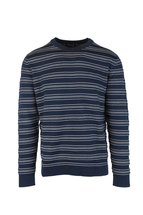 Ermenegildo Zegna Navy Blue & White Striped Crewneck Sweater